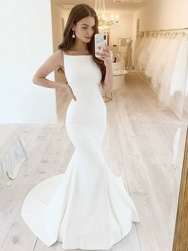 Trumpet/Mermaid Satin Square Sleeveless Ruffles Sweep/Brush Train Wedding Dresses