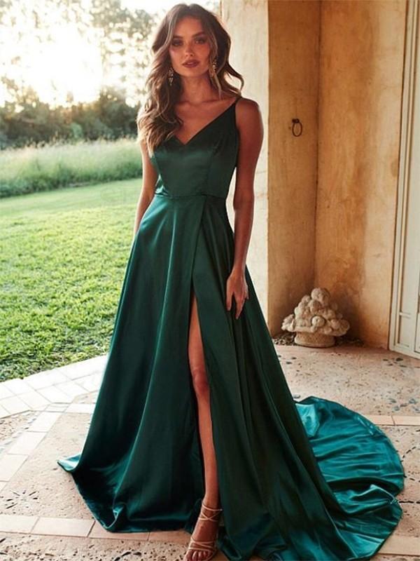 A-Line/Princess V-neck Satin Sleeveless Ruffles Sweep/Brush Train Dresses