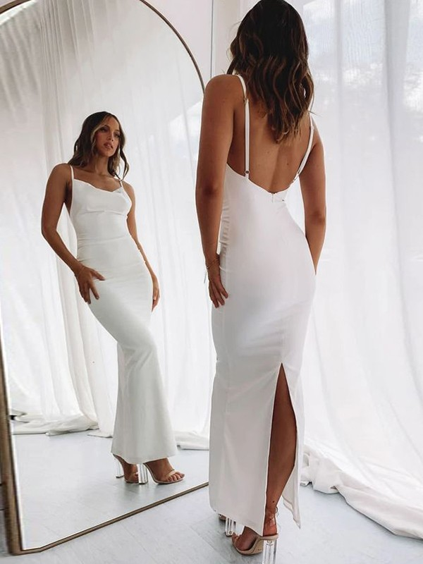 Sheath/Column Spaghetti Straps Satin Ruched Sleeveless Floor-Length Dresses