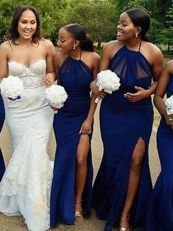 Trumpet/Mermaid Satin Ruched Halter Sleeveless Floor-Length Bridesmaid Dresses