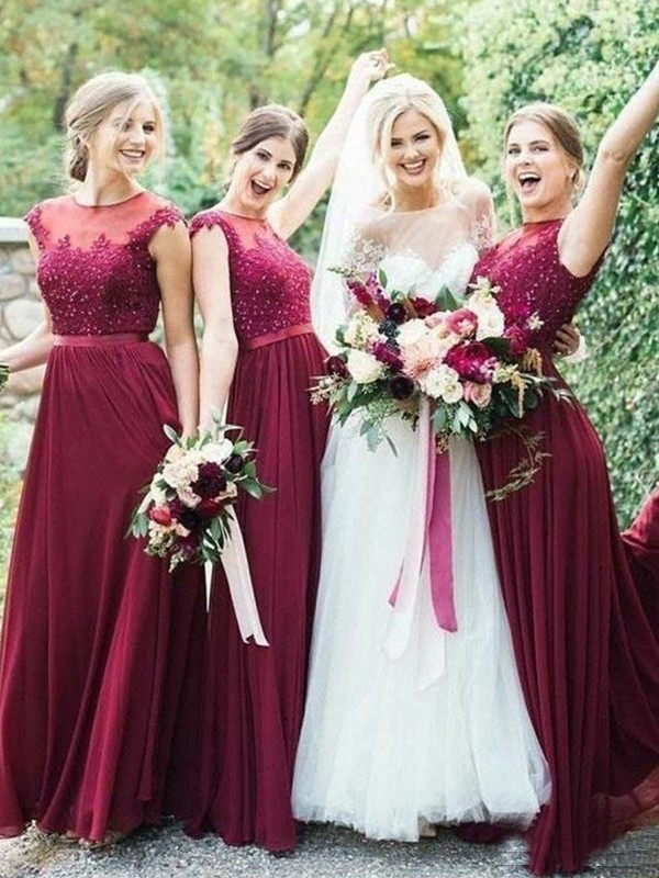 A-Line/Princess Tulle Applique Sleeveless Scoop Floor-Length Bridesmaid Dresses