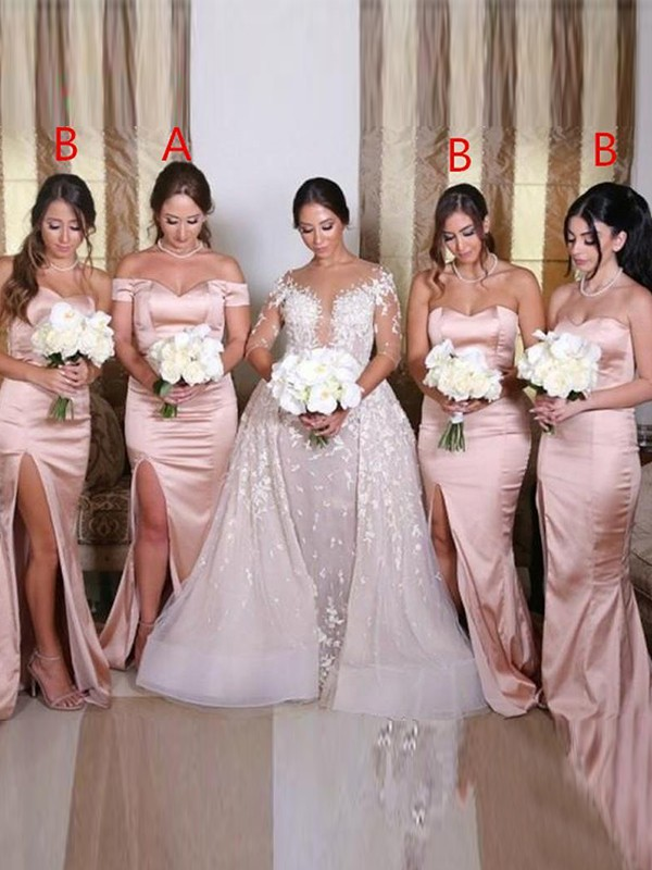 Sheath/Column Elastic Woven Satin Sweetheart Sleeveless Ruched Sweep/Brush Train Bridesmaid Dresses