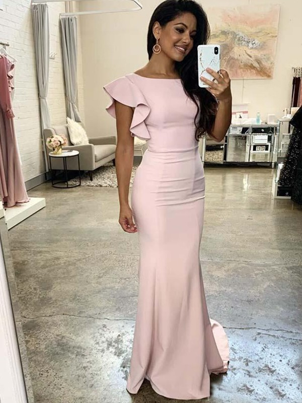 Sheath/Column Ruched Sleeveless Scoop Stretch Crepe Sweep/Brush Train Bridesmaid Dresses