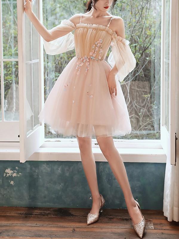 A-Line/Princess Tulle Beading Spaghetti Straps 1/2 Sleeves Short/Mini Homecoming Dresses