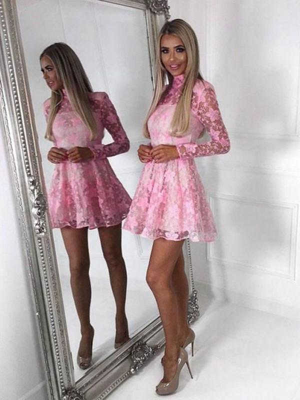 A-Line/Princess Lace Applique High Neck Long Sleeves Short/Mini Homecoming Dresses