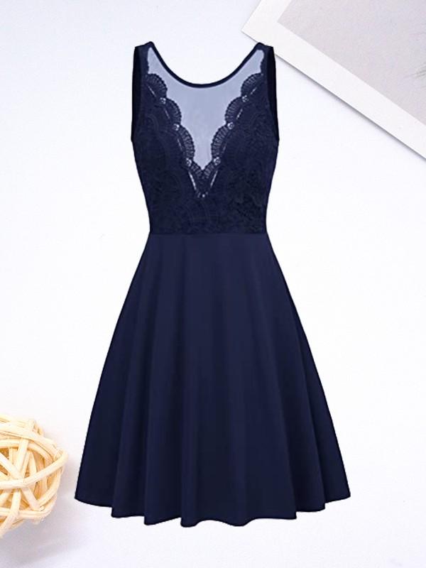 A-Line/Princess Stretch Crepe Lace V-neck Sleeveless Short/Mini Homecoming Dresses