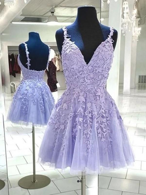 A-Line/Princess Tulle Applique V-neck Sleeveless Short/Mini Dresses