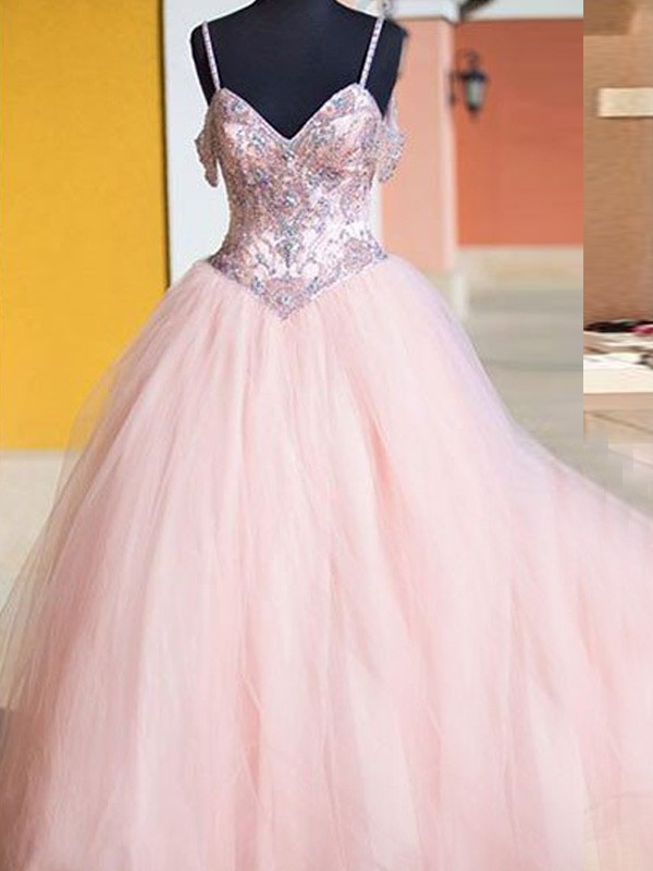 Memorable Magic Ball Gown Spaghetti Straps Tulle Crystal Floor-Length Dresses