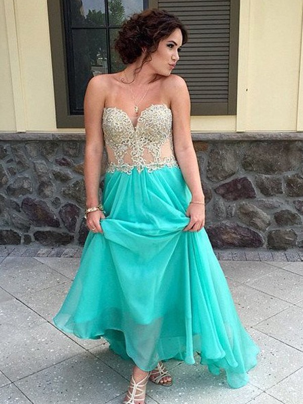Romantic Vibes Princess Style Sweetheart Floor-Length Applique Chiffon Dresses