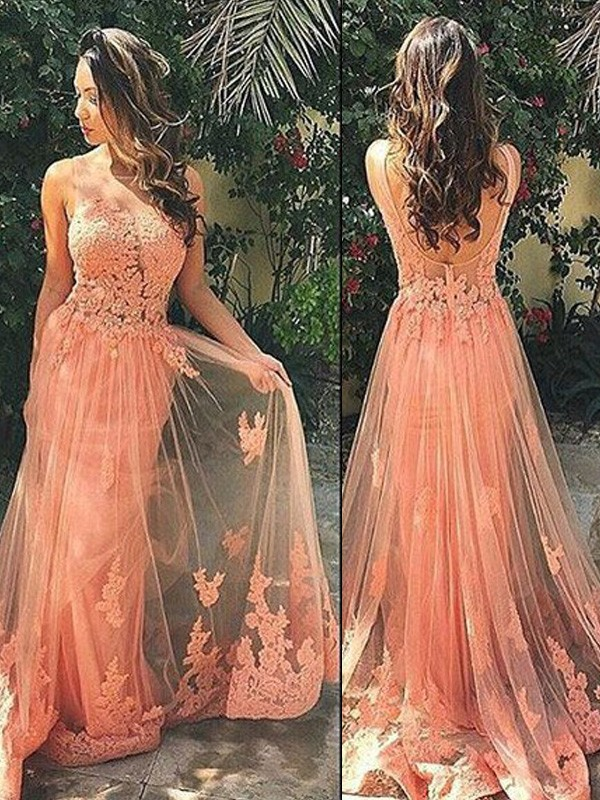 Beautiful You Princess Style Straps Tulle Sweep/Brush Train Applique Dresses