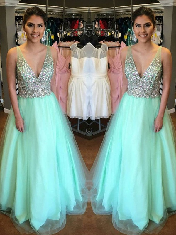 Embracing Grace Princess Style V-Neck Floor-Length Tulle Beading Dresses