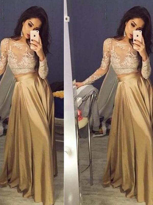 Stylish Refresh Princess Style Scoop Taffeta Applique Floor-Length Two Piece Dresses