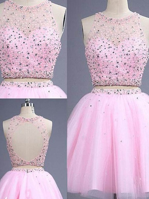 Dashing Darling Princess Style Scoop Short/Mini Beading Tulle Two Piece Dresses