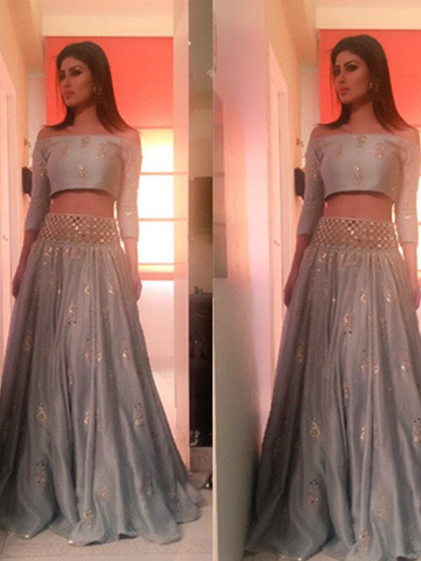 Savor the Occasion Princess Style Off-the-Shoulder Floor-Length Beading Satin Two Piece Dresses
