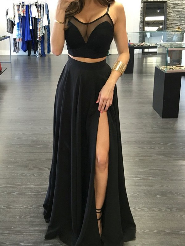 Absolute Lovely Princess Style Spaghetti Straps Floor-Length Chiffon Two Piece Dresses