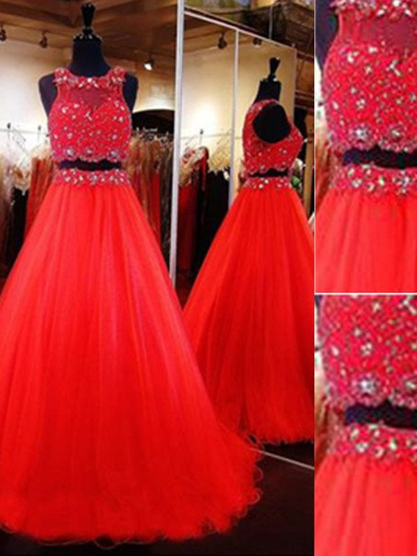 Time to Shine Princess Style Scoop Floor-Length Beading Tulle Two Piece Dresses
