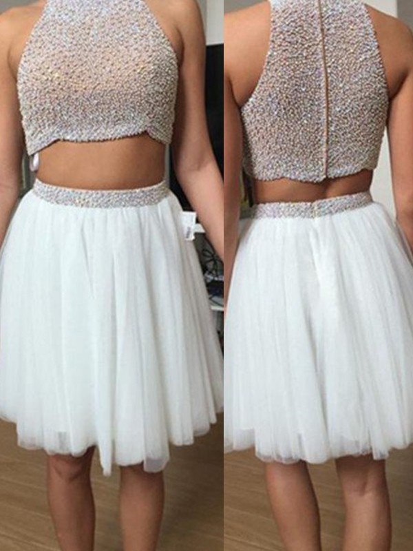 Comfortably Chic Princess Style High Neck Tulle Beading Short/Mini Two Piece Dresses