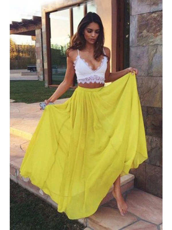 Automatic Classic Princess Style Straps Floor-Length Lace Chiffon Two Piece Dresses