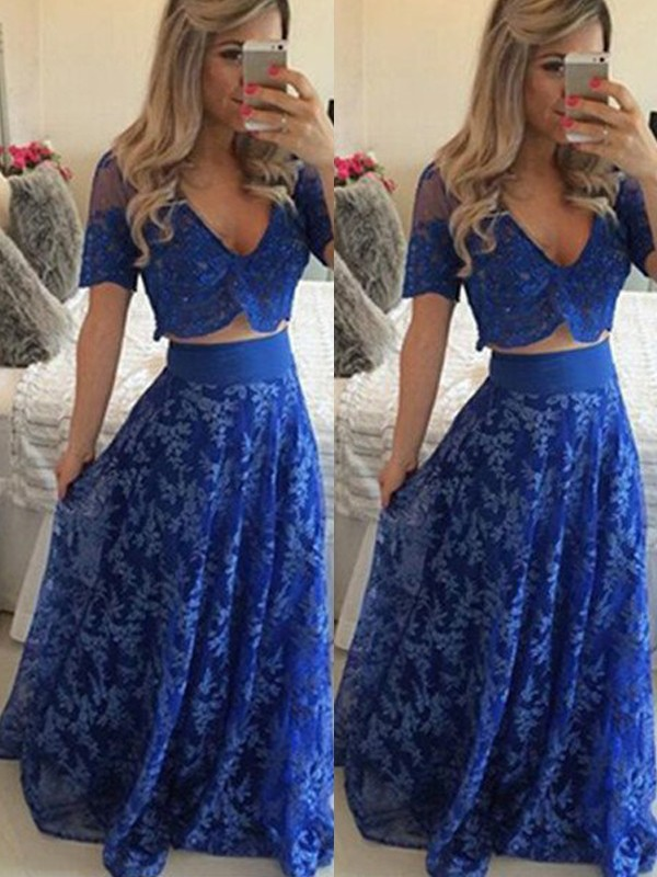 Sweet Sensation Princess Style V-neck Floor-Length Lace Two Piece Dresses