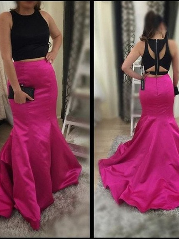Styled to Smile Mermaid Style Scoop Sweep/Brush Train Satin Two Piece Dresses