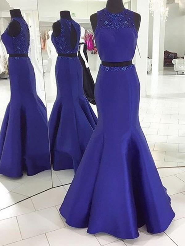 Confident Option Mermaid Style Scoop Floor-Length Beading Satin Two Piece Dresses