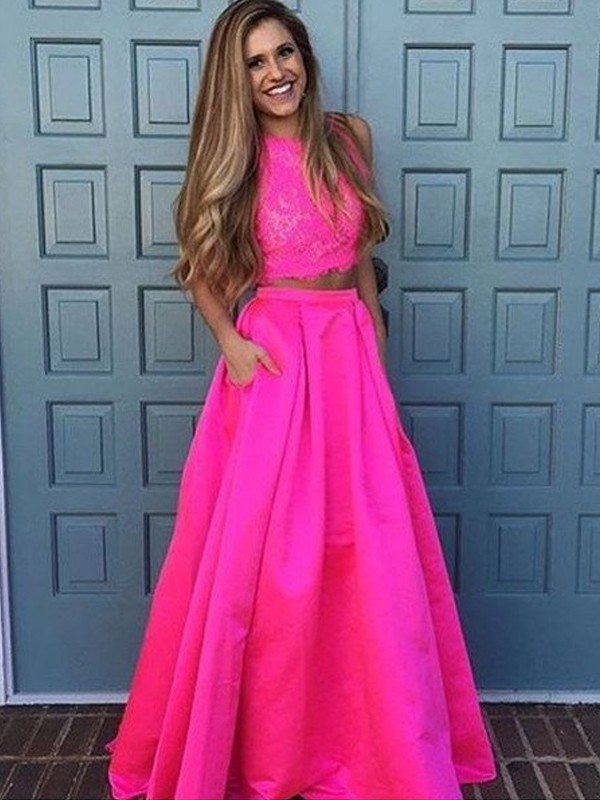 Fabulous Fit Princess Style Scoop Floor-Length Lace Satin Two Piece Dresses