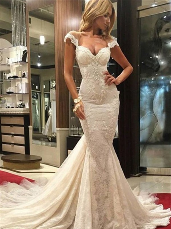 Chic Chic London Mermaid Style Chapel Train V-neck Lace Wedding Dresses