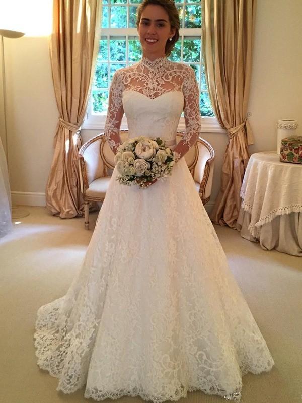 Festive Self Ball Gown High Neck Lace Court Train Wedding Dresses