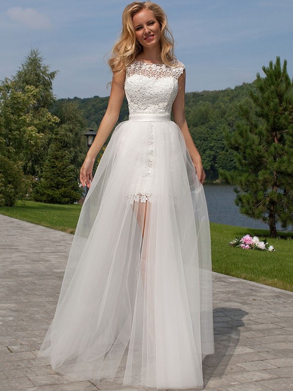 Visual Moment Sheath Style Lace Scoop Floor-Length Tulle Wedding Dresses