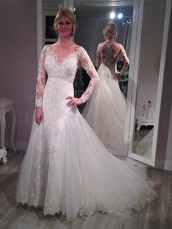 Memorable Magic Princess Style V-neck Sweep/Brush Train Sequin Tulle Wedding Dresses