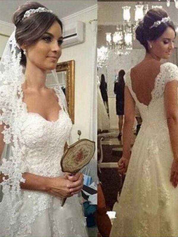 Vibrant Stylist Princess Style Sweetheart Floor-Length Lace Tulle Wedding Dresses