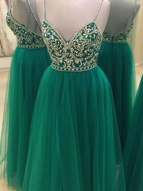 Modern Mood Princess Style Spaghetti Straps Tulle Floor-Length Beading Dresses