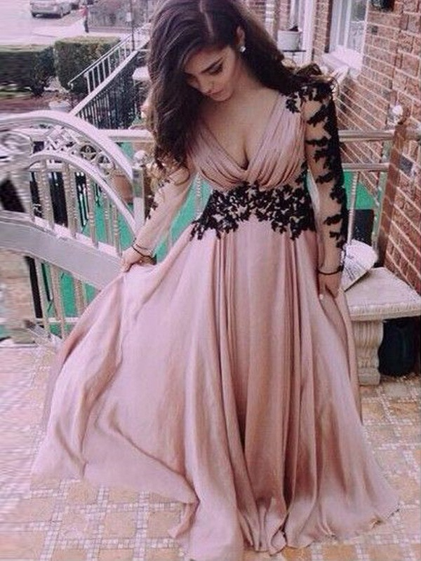 Pleasant Emphasis Princess Style V-neck Chiffon Applique Floor-Length Dresses