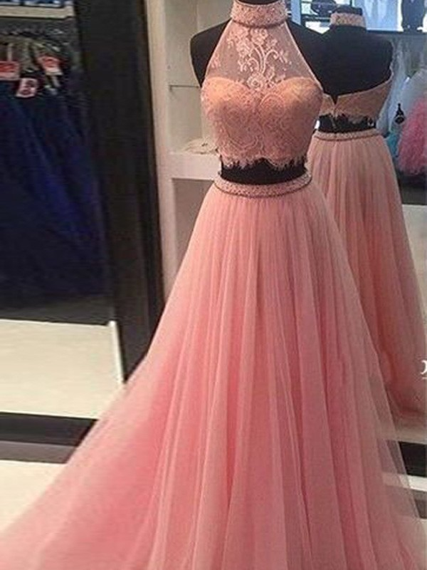 Chic Chic London Princess Style High Neck Tulle Lace Floor-Length Two Piece Dresses