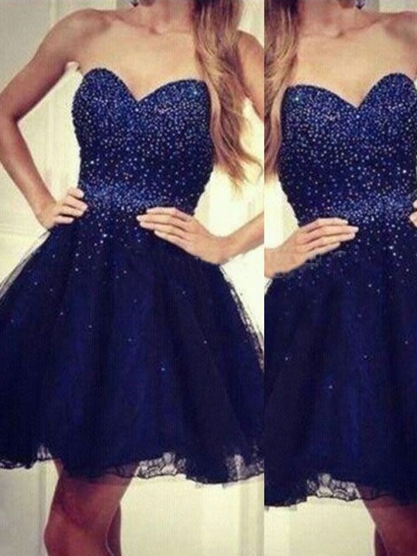 Festive Self Princess Style Sweetheart Beading Short/Mini Tulle Dresses