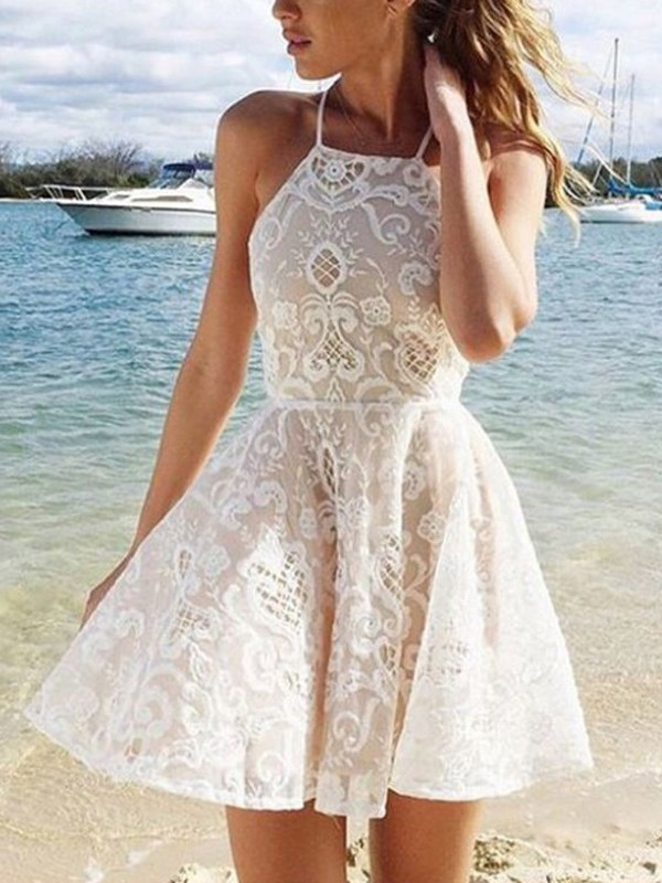 Pretty Looks Princess Style Halter Lace Spandax Short/Mini Dresses
