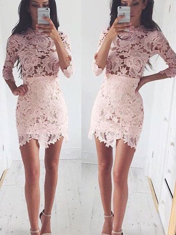 First Impressions Princess Style Scoop Lace Short/Mini Dresses
