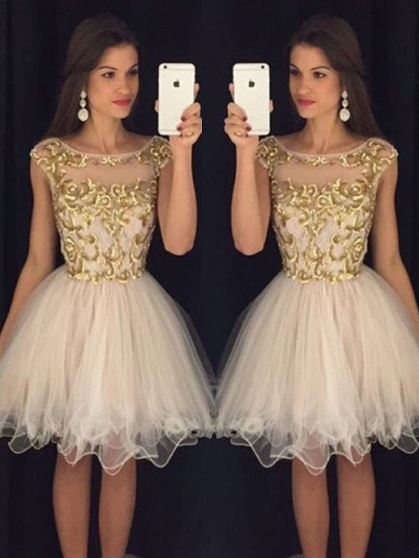 Confident Option Princess Style Scoop Paillette Tulle Short/Mini Dresses