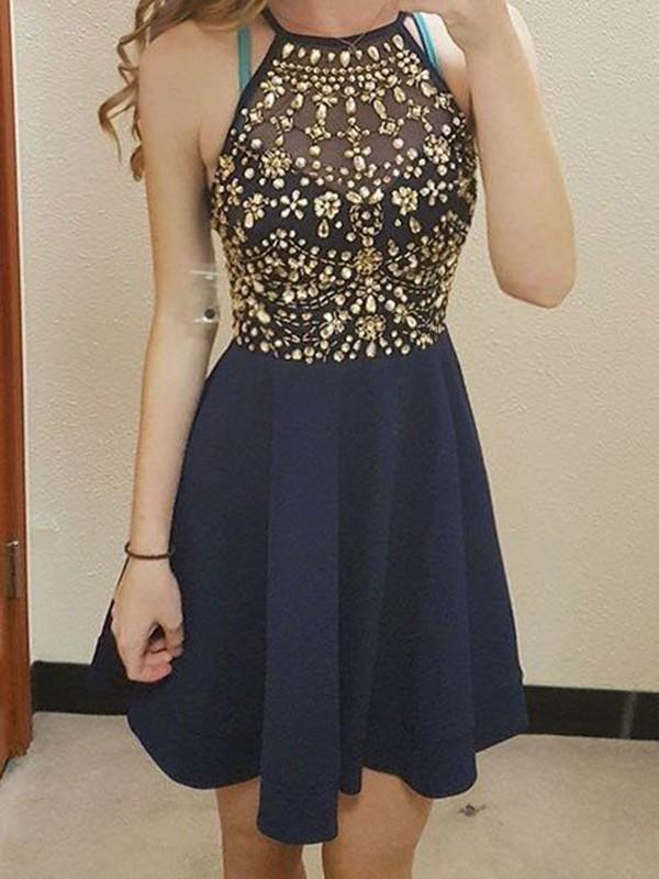 Dancing Queen Princess Style Scoop Beading Chiffon Short/Mini Dresses