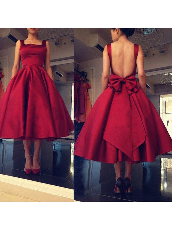 Romantic Vibes Princess Style Square Bowknot Satin Short/Mini Dresses
