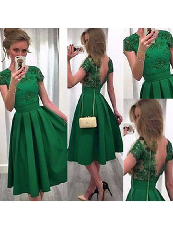 Defined Shine Princess Style Scoop Lace Satin Short/Mini Dresses