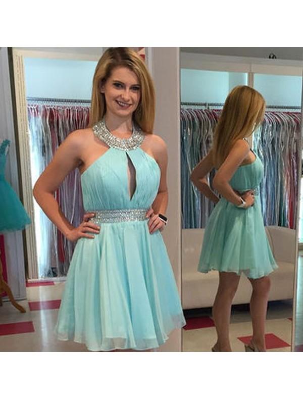 Fresh Picks Princess Style Halter Beading Chiffon Short/Mini Dresses