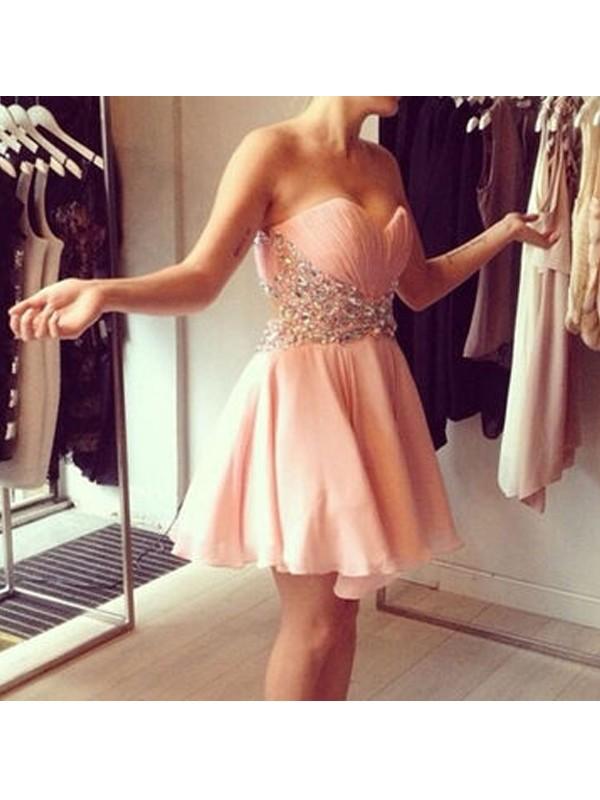 Easily Adored Princess Style Sweetheart Beading Chiffon Short/Mini Dresses