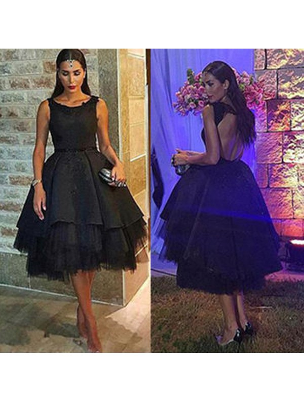 Naturally Chic Princess Style Scoop Tulle Short/Mini Dresses