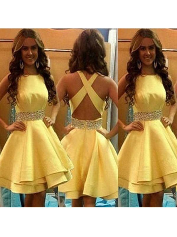Befits Your Brilliance Princess Style Scoop Beading Satin Short/Mini Dresses
