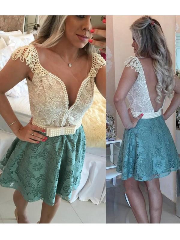 Glitz the Spot Princess Style V-neck Beading Lace Short/Mini Dresses