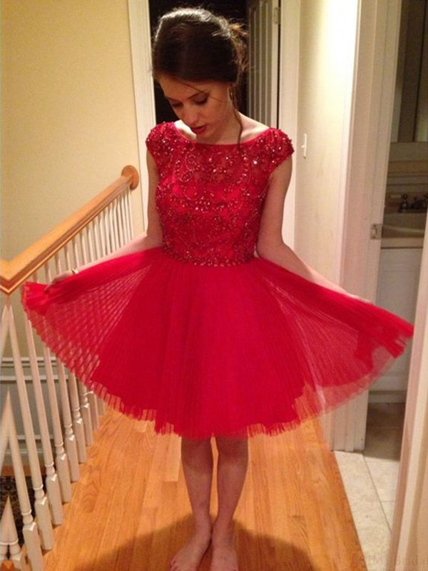 Pleasant Emphasis Princess Style Scoop Beading Tulle Short/Mini Dresses