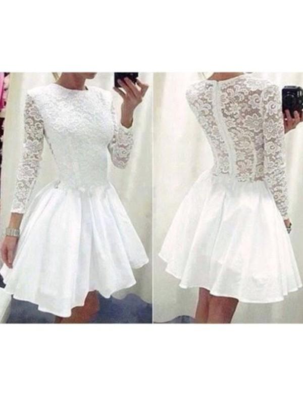 Time to Shine Princess Style Scoop Lace Chiffon Short/Mini Dresses