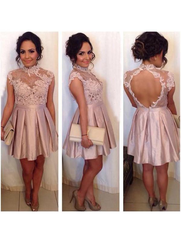 Limitless Looks Princess Style High Neck Lace Satin Short/Mini Dresses