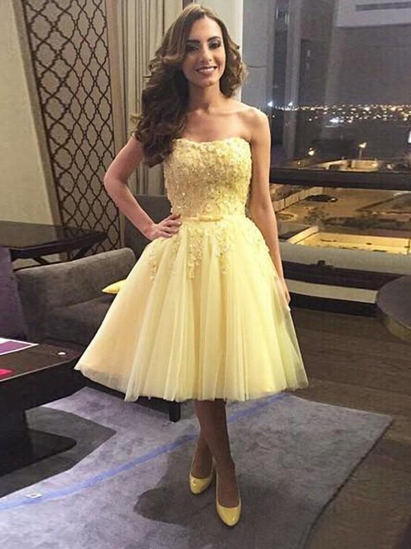 Desired Spotlight Princess Style Sweetheart Applique Tulle Short/Mini Dresses
